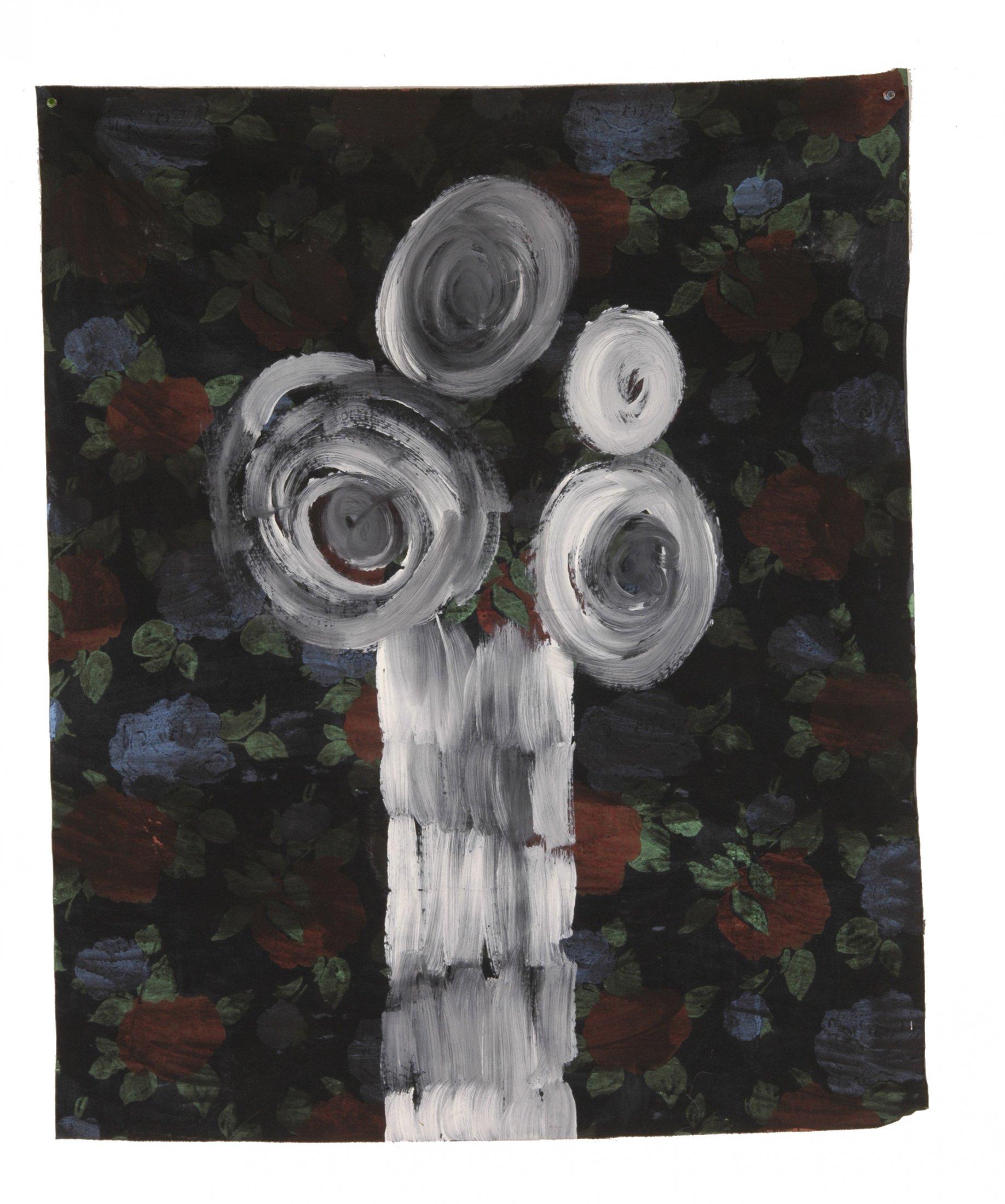 Fleur à la grecque ,approche 2004 acrylique et encre de chin